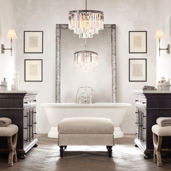 Luxurious and stylish bathroom design - with wood floor and crystal chandelier