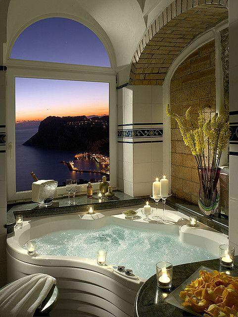 Luxurious bathroom with candles - with great view outside
