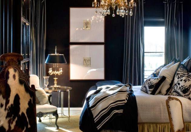 Luxurious black bedroom - with expensive crystal chandelier