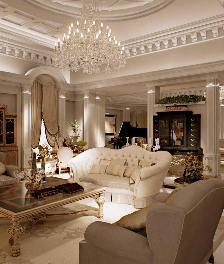 Luxurious classic living room - with splendid crystal chandelier