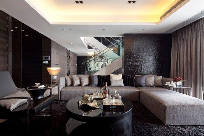 Luxurious dark living room - with black, grey and brown nuances