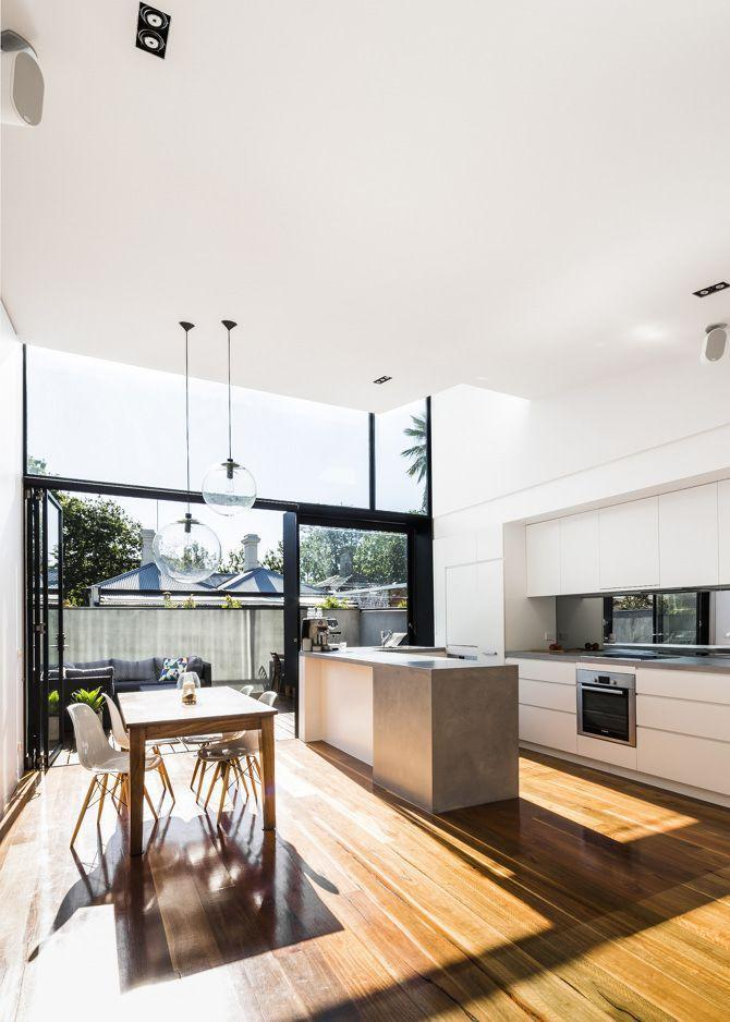 Luxurious house kitchen - with minimalist white countertops