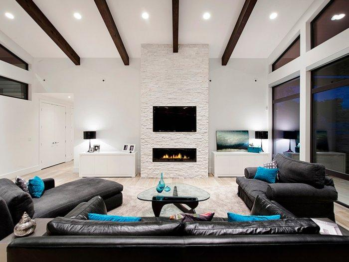 Luxurious modern stone firplace - inside an expensive property