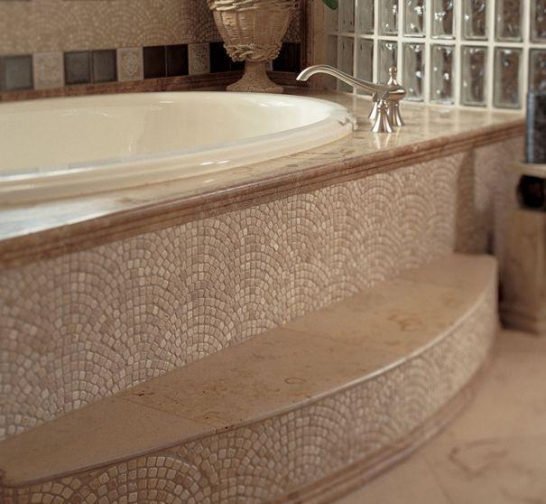 Luxurious tile for bathtub - decorating the steps
