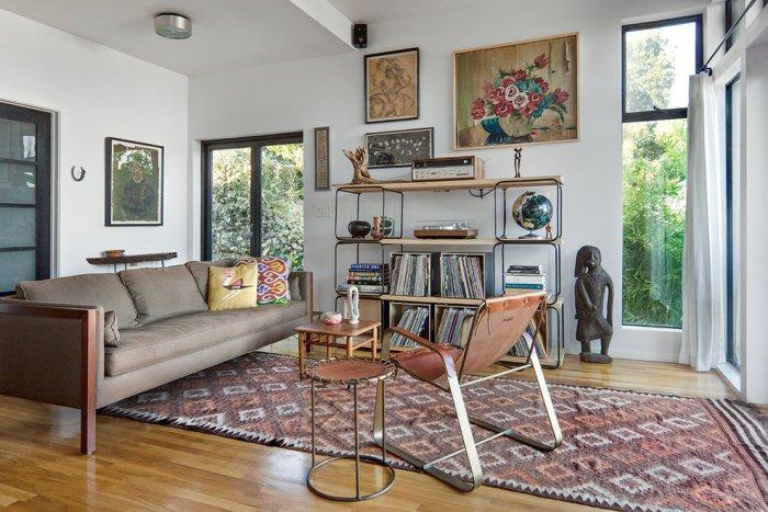 Mid century Modern Bookcase Inside A Living Room