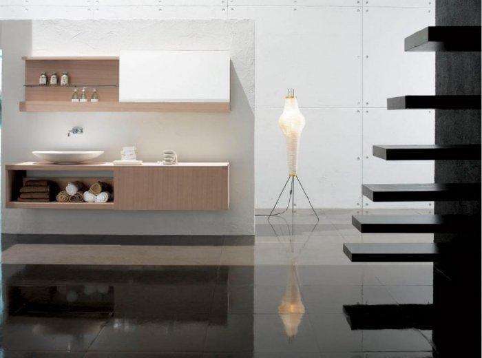 Minimalist floor lamp - inside a stylish apartment