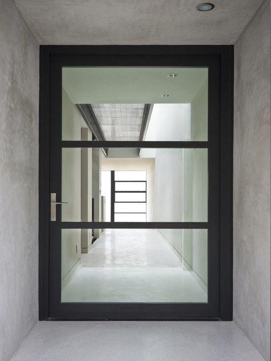 minimalist glass entry door with stylish framework - Modern Exterior Doors