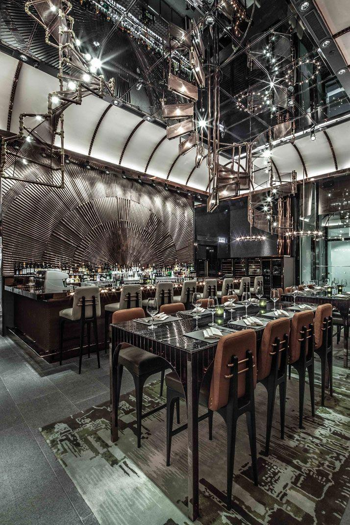 Modern European restaurant - with stainless steel details on the ceiling