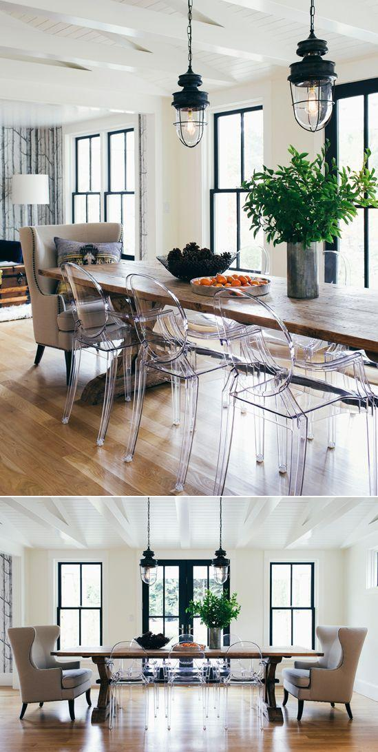 Modern Swedish dining room - with industrial ligh fixtures and modern chairs