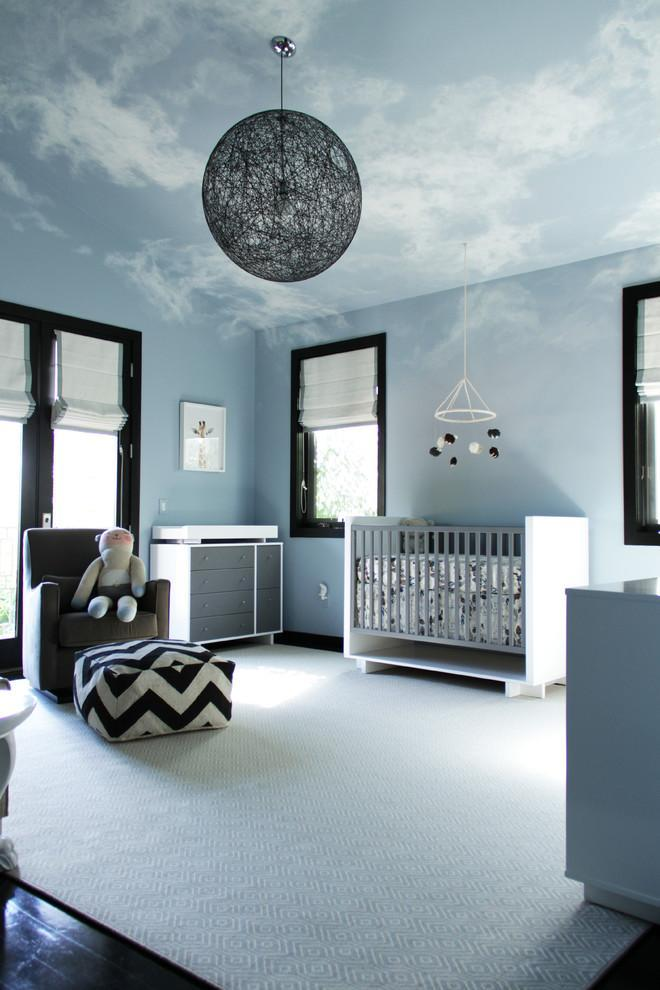 Modern blue baby room - with fantastic cloud decorations
