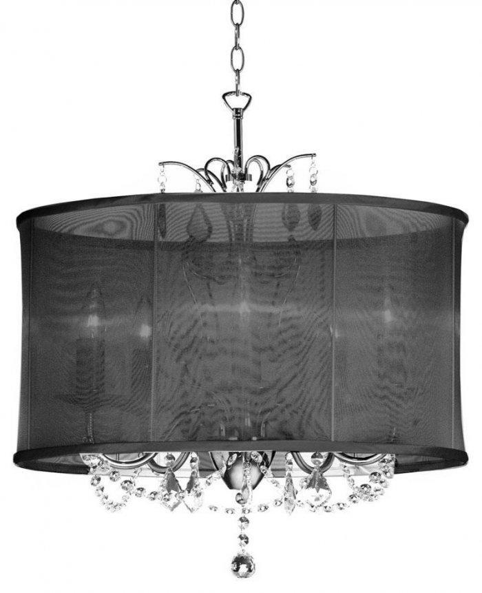Modern classic chandelier - with black oval shade