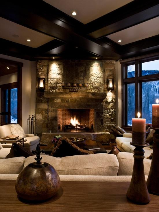 Modern cottage living room - with fireplace in the background