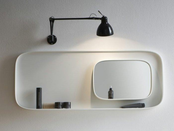 Modern creative bathroom mirror - surrounded by a white shelf