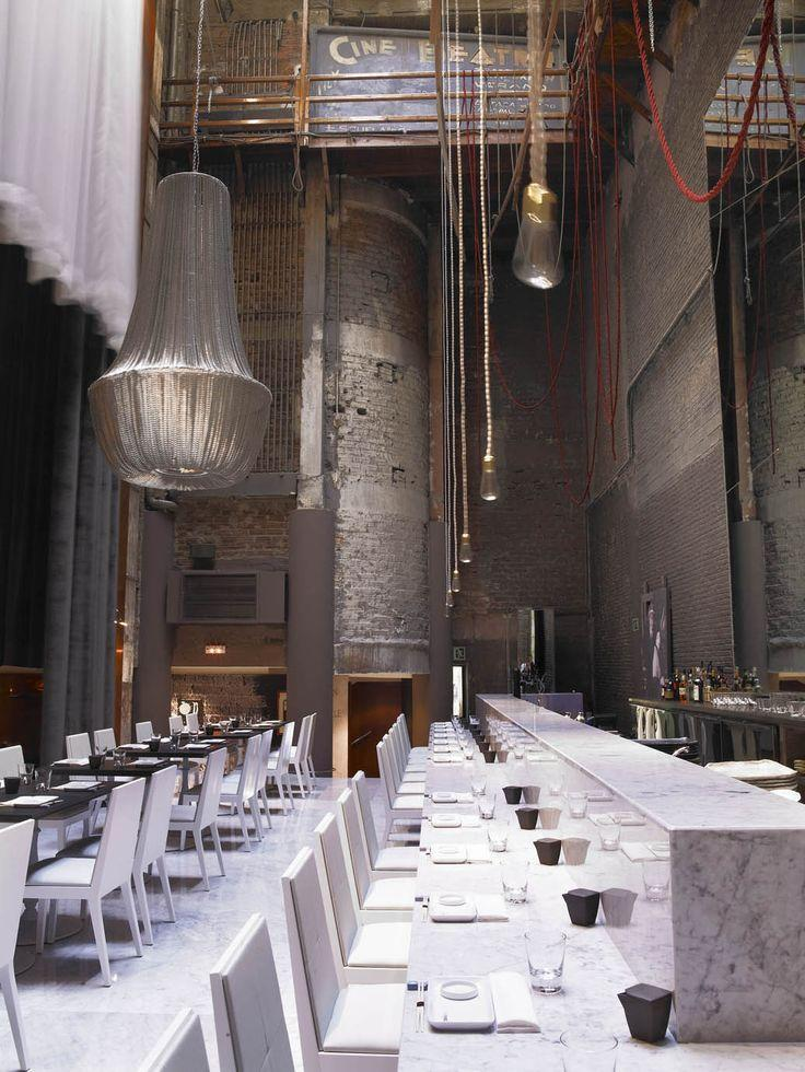 Modern eclectic restaurant - with heavy chandeliers