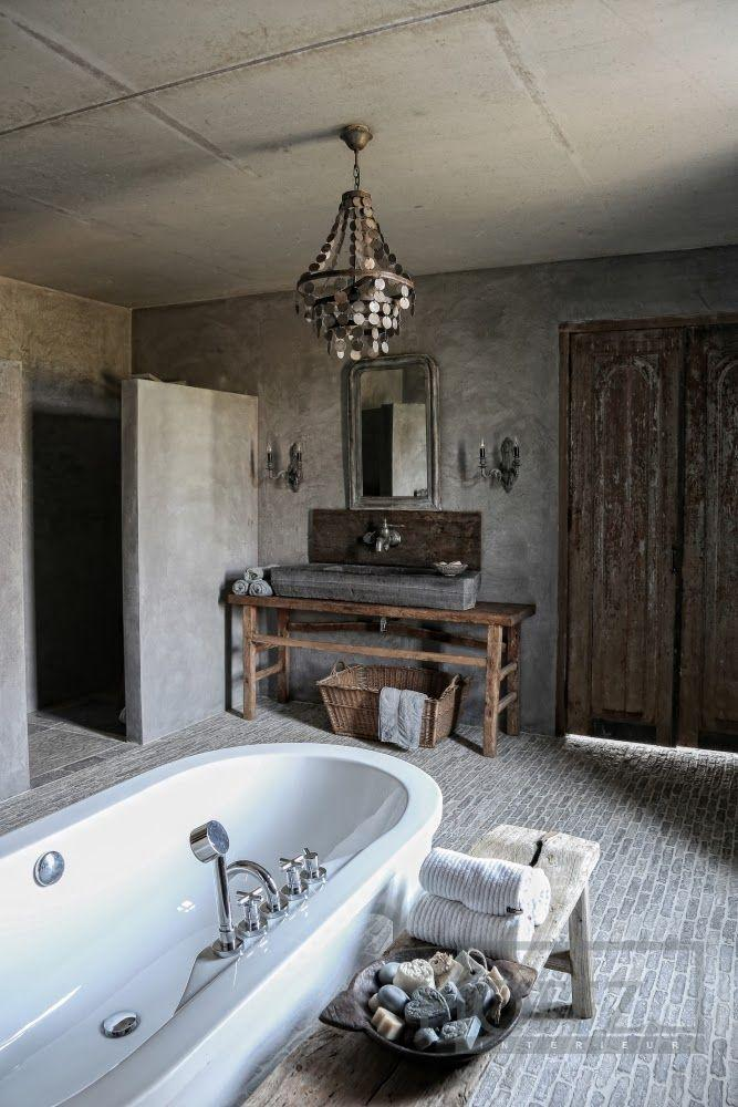 Modern Farmhouse Bathroom With Rustic Accents In The