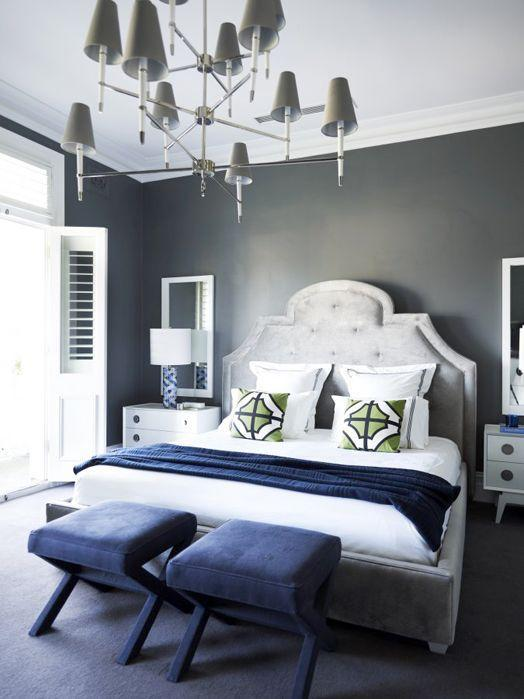 Modern house bedroom - in white, grey and violet color