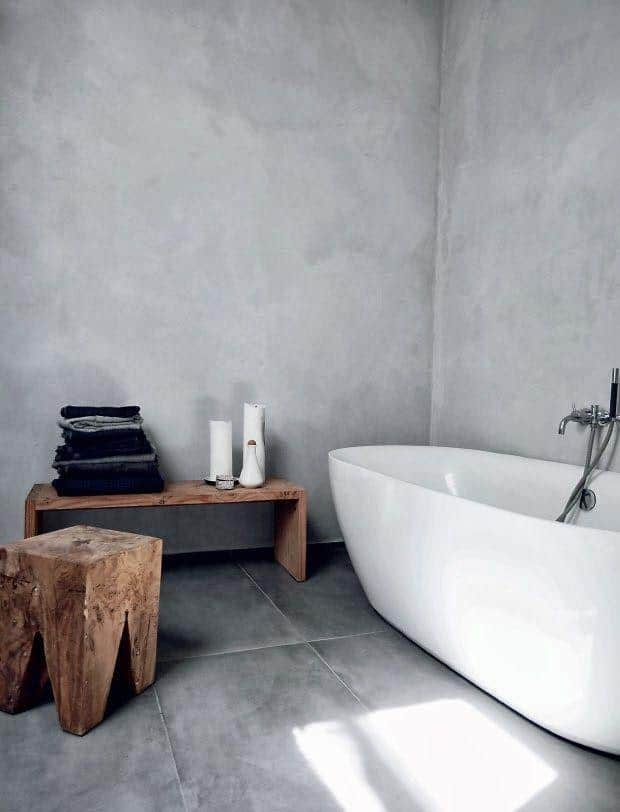 Modern industrial bathroom - with rustic accents and modern tub