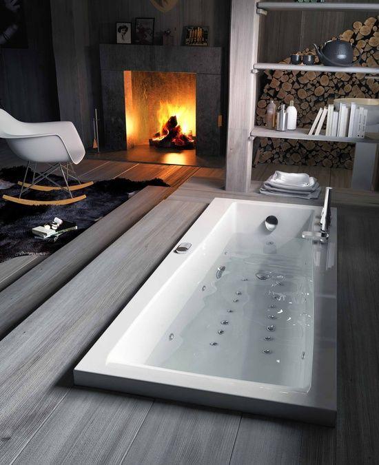 Modern minimalist bathroom - with fireplace and modern rocking chair