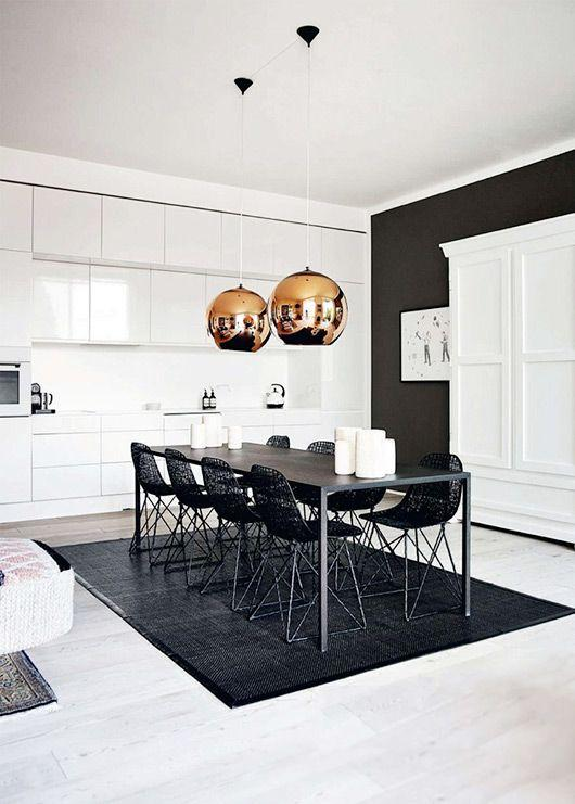 Modern minimalist dining room - in black and white colors