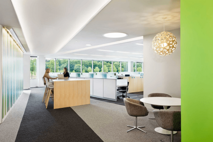 Basf 39 s modern office interior design by genstler founterior for Office working area design