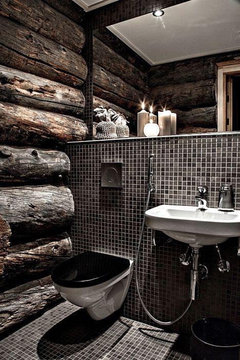 Modern rustic bathroom - with wood accents inside