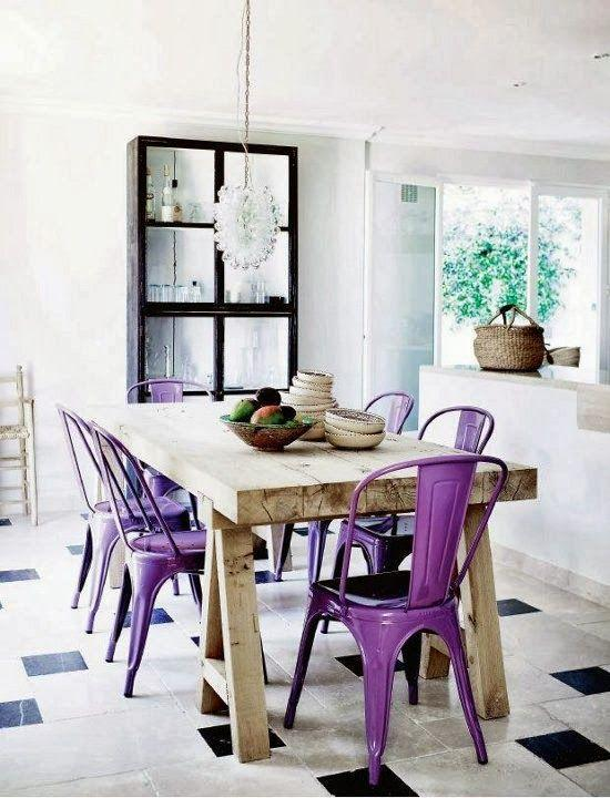 Modern rustic dining room - with purple chairs and wood table