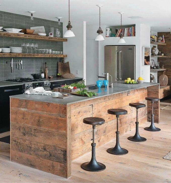 Modern Rustic Kitchen With Vintage Bar Stools And Wood Accents