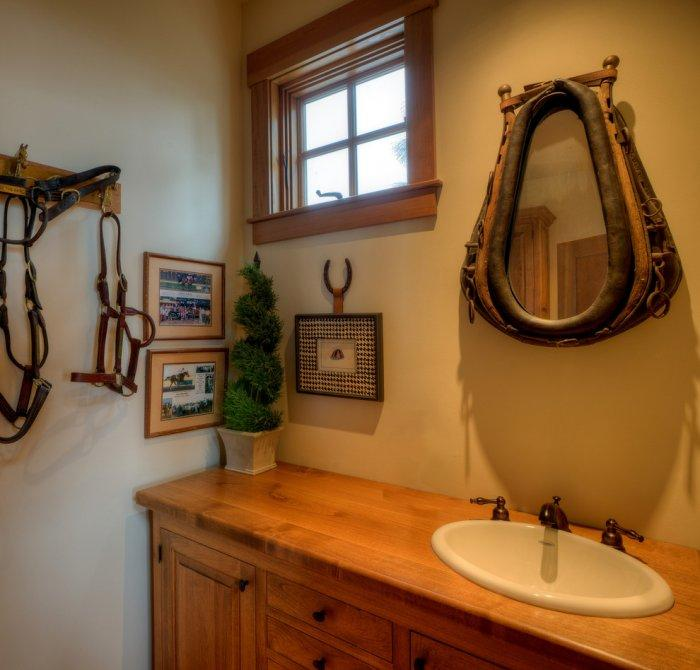 Modern rustic mirror - inside a small bathroom