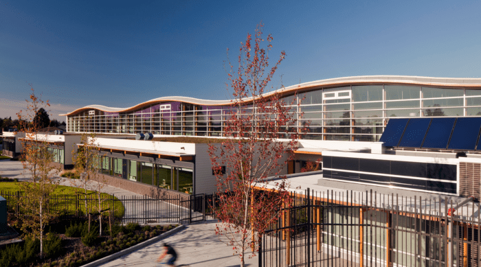 Modern school architecture - with glass facade for natural illumination