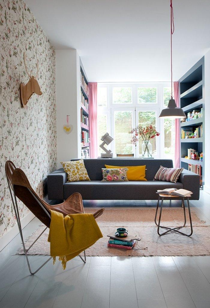 Modern small livign room - with low profile sofa in dark grey