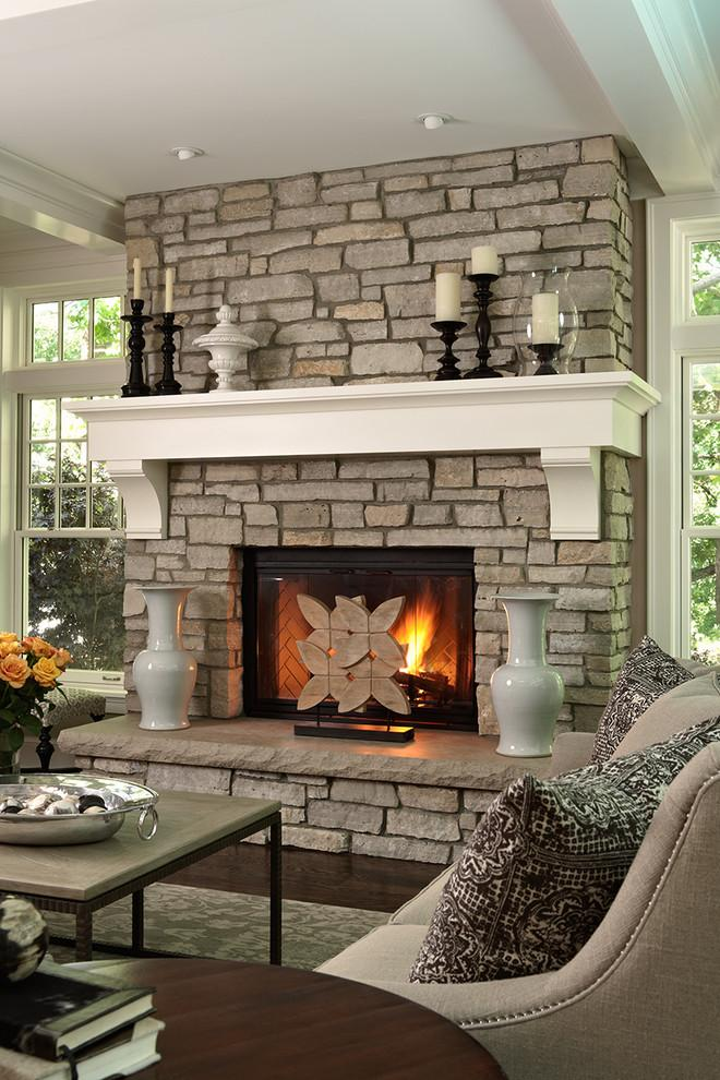 Modern stone fireplace - with white mantel