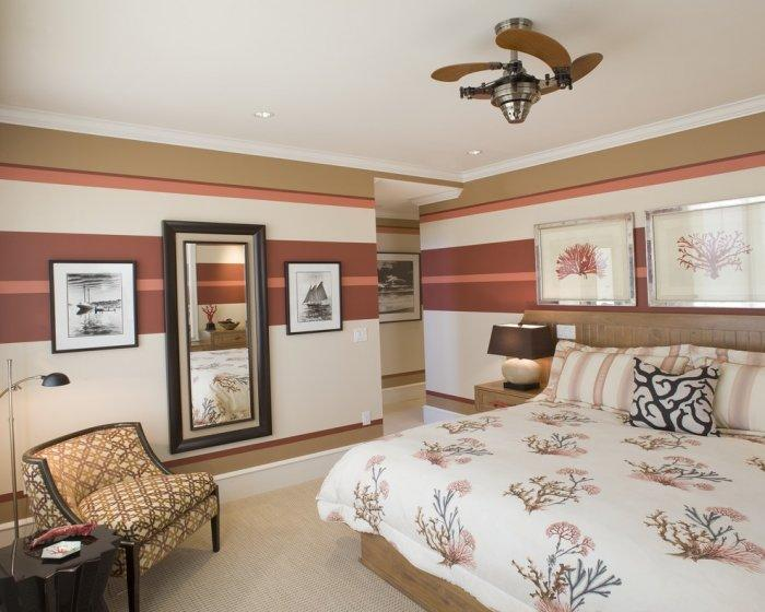 Modern traditional bedroom paint - striped lines and soft linens