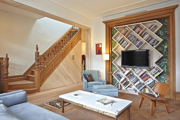 Modern traditional bookcase - installed on the wall