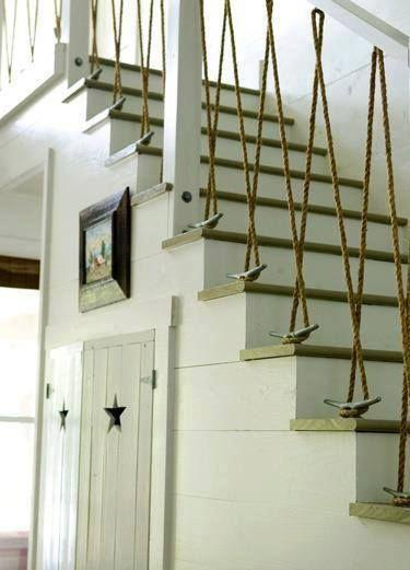 Modern vintage staircase - with decorative ropes