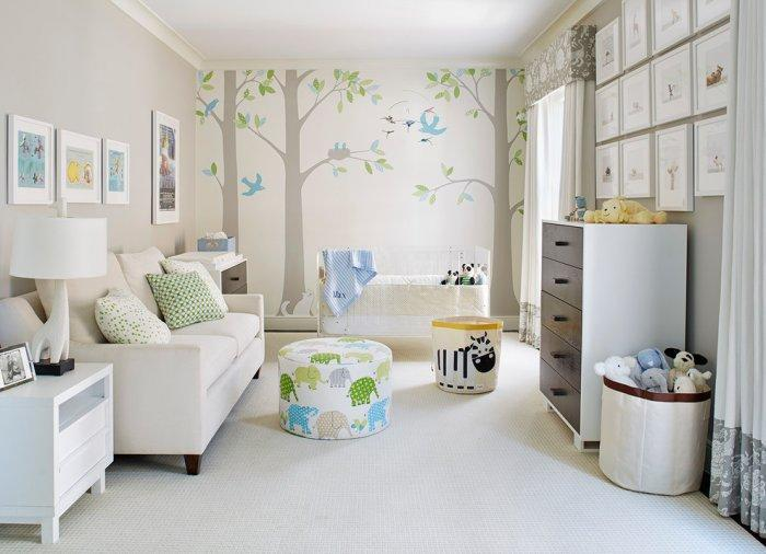 Modern white baby room - with fantastic wall art