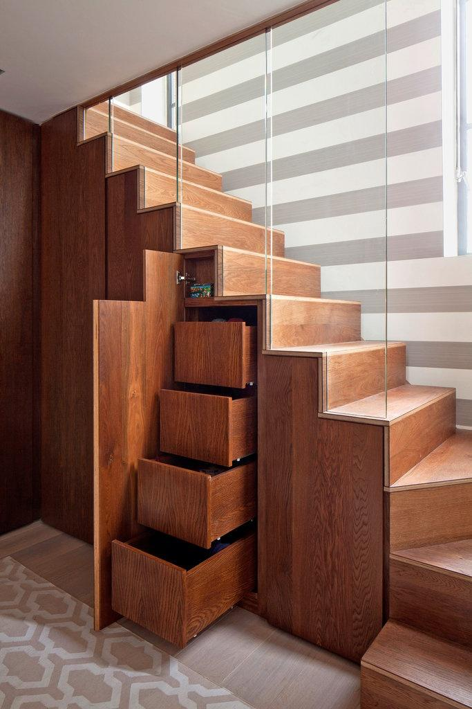 Modern wood staircase - with drawers beneath it