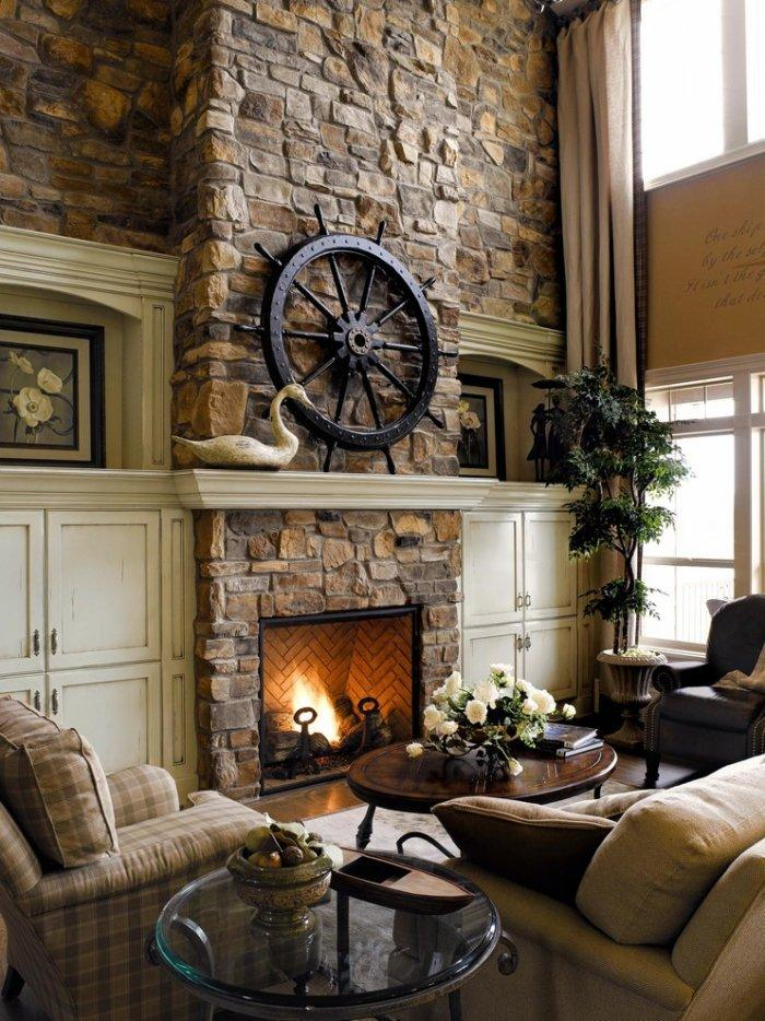 Mountain cabin with stone fireplace - with various decorations
