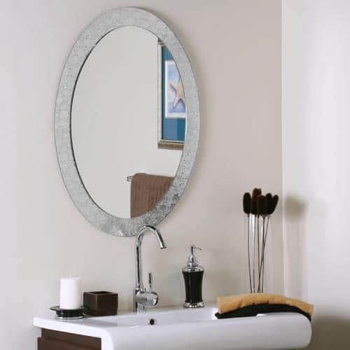 Oval Bathroom Mirror In A Small Apartment Bath