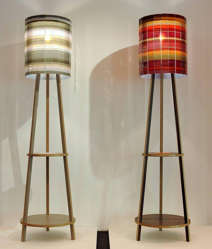 Pair of lamps - with white and red shades