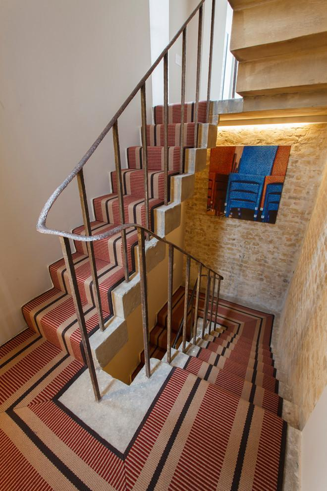 Pale red stair runners - with black accents
