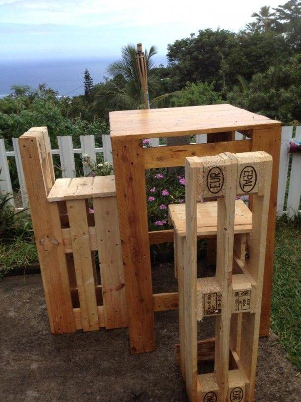 Pallet bar stools - placed in the garden, around a table