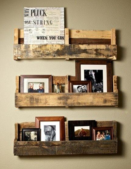 Pallet decorative shelves - with photos and signs on them