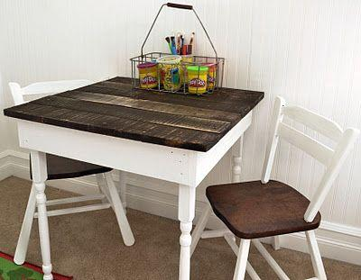 Pallet dining table - with two chairs beside