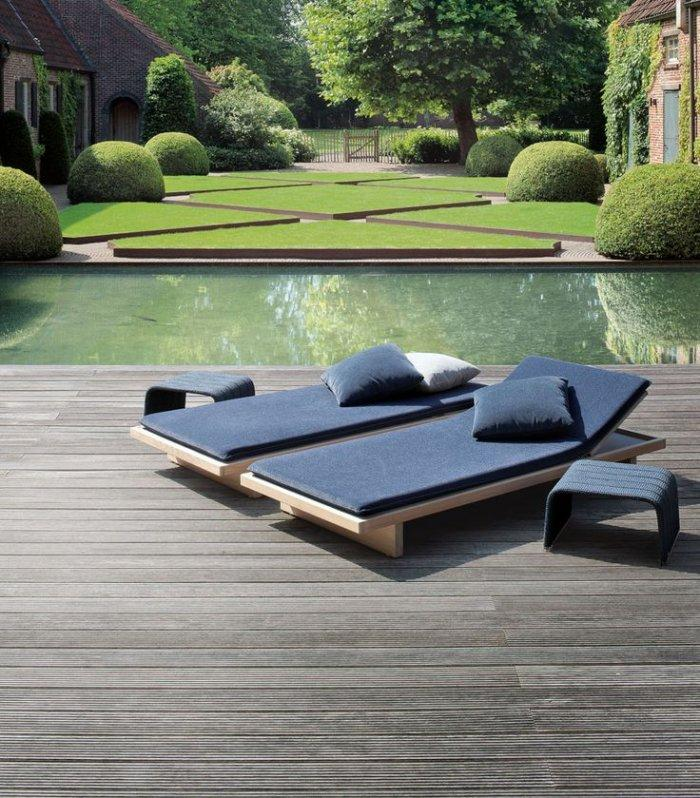 Pallet lounge chairs - placed on the front wooden deck