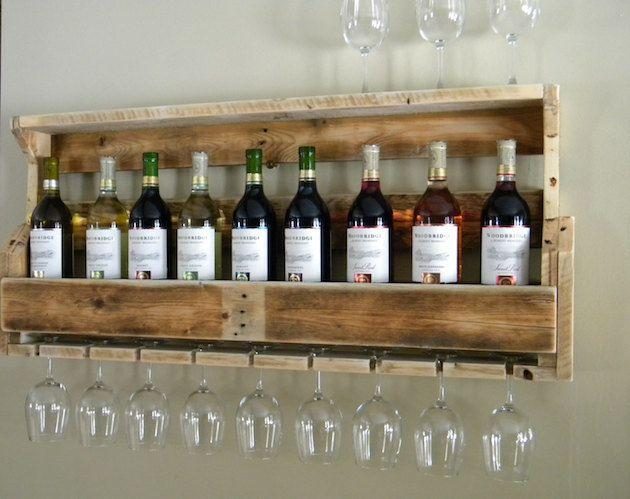 Pallet wine rack - with a refined collection of red and white wines