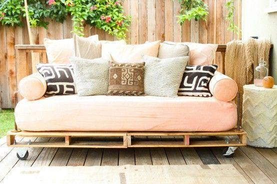 Patio pallet sofa - with cozy and soft cushions