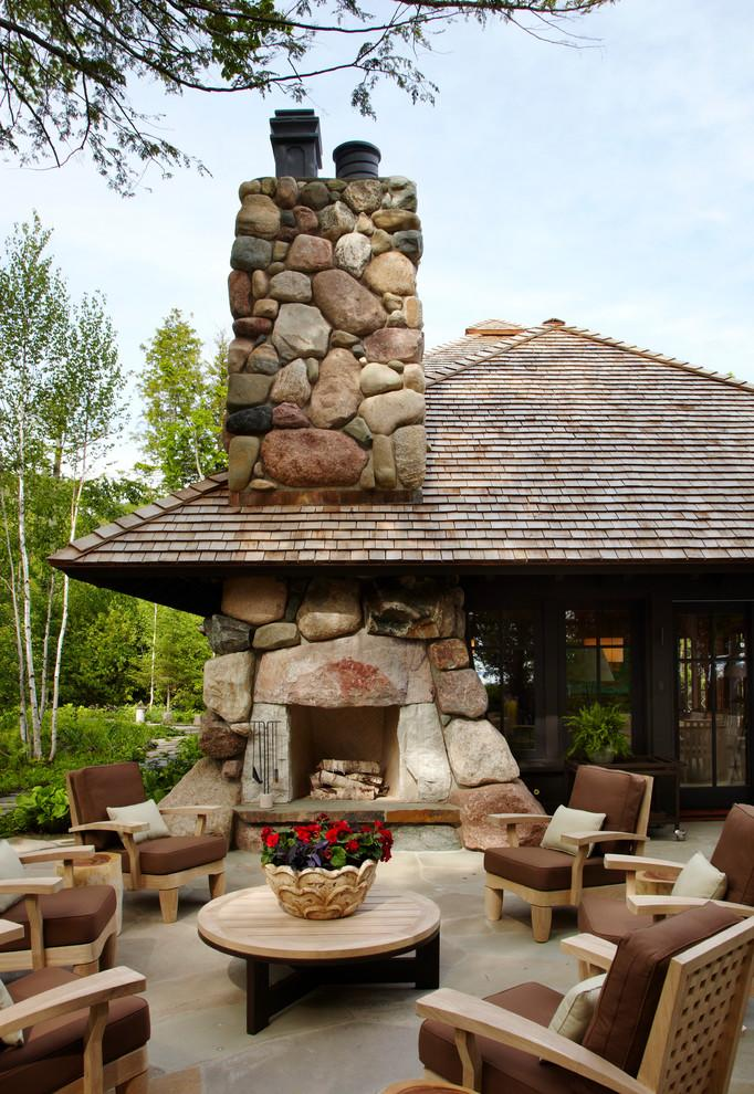 Patio stone fireplace - with stone chimney