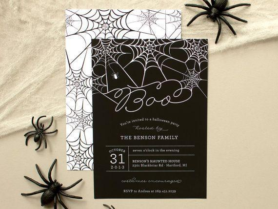 Personalized black Halloween invitation - for a family