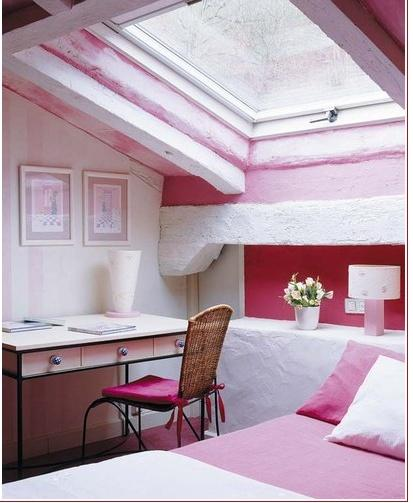 Pink attic bedroom - with large rooftop window
