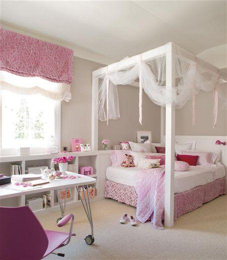 Pink kids bedroom - with amazing bed with curtains